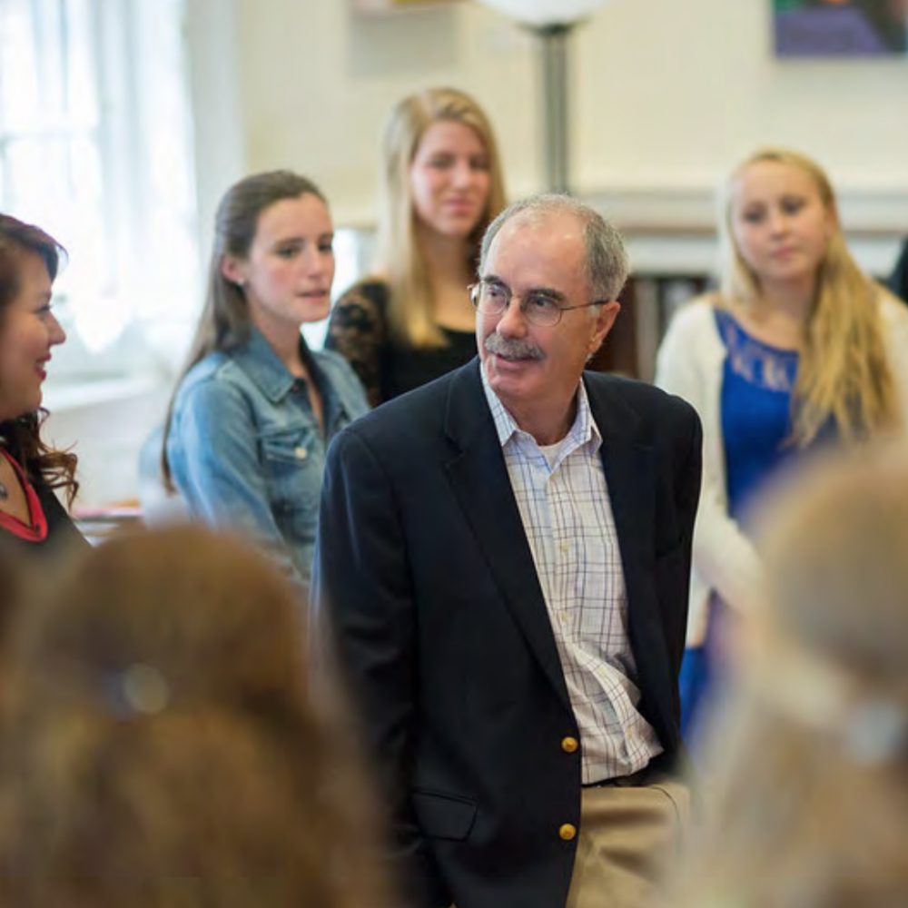 President Philip J. Hanlon '77 with students