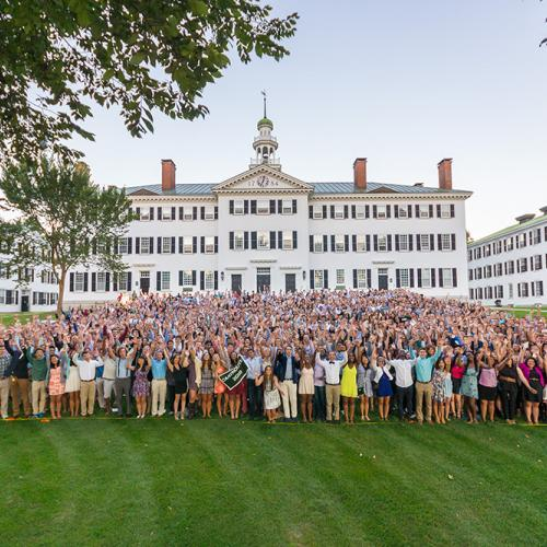 students stand in front of Dartmouth Hall