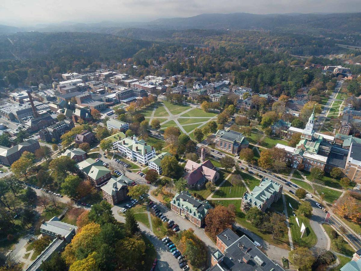 aerial picture of Dartmouth campus