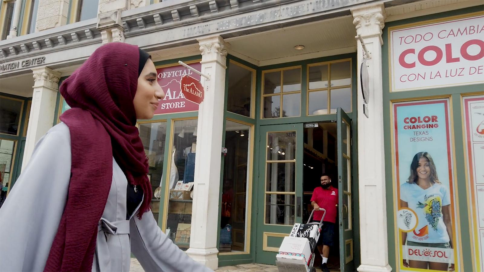 Ameena walking while traveling for foreign study