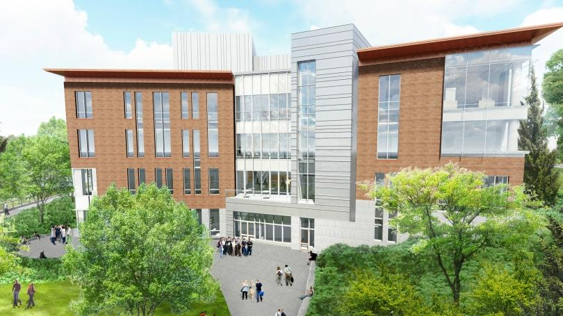 artists's rendering of the future building for engineering and computer science