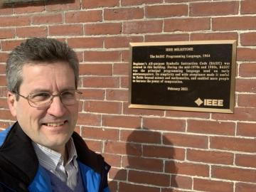 Dave Kotz in front of IEEE Plaque