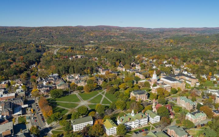 Aerial shot of Dartmouth campus