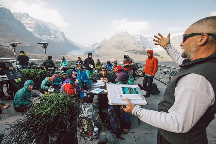 Students and professor in a national park