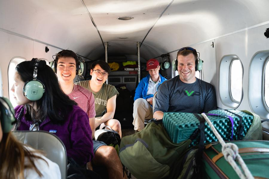 Dartmouth students on a plane to Alaska